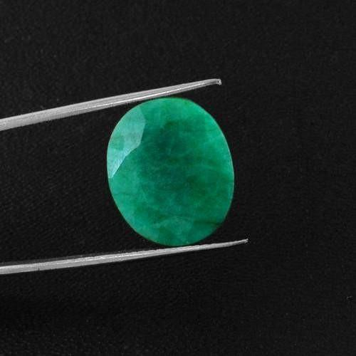 gemsmore:Genuine Green Emerald Oval Cut Gemstone