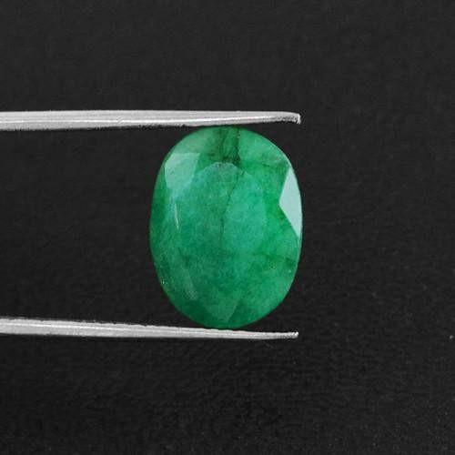 gemsmore:Genuine Green Emerald Oval Faceted Gemstone