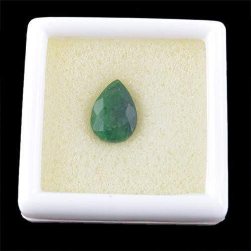 gemsmore:Genuine Green Emerald Pear Faceted Gemstone