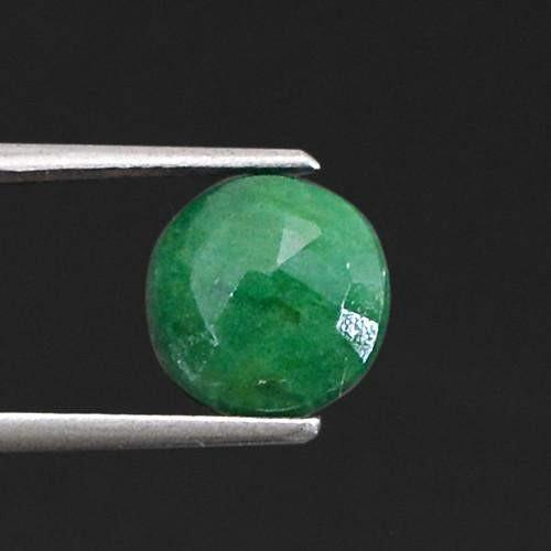 gemsmore:Genuine Green Emerald Round Cut Gemstone