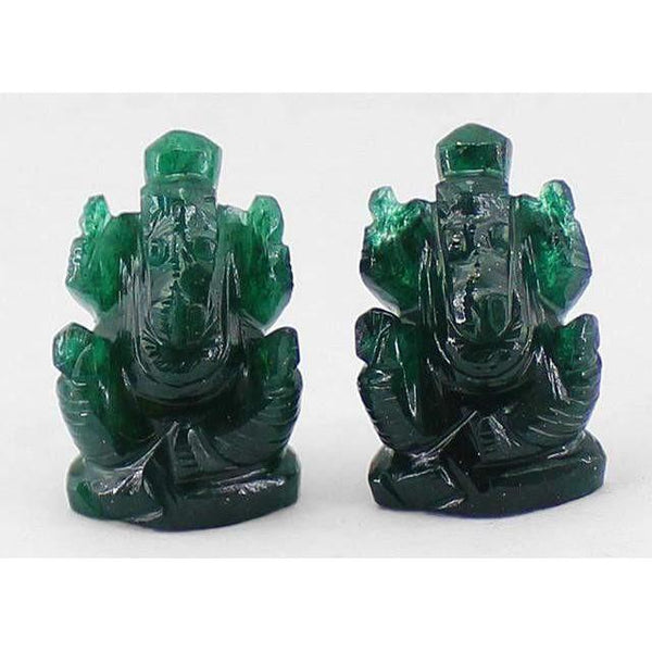 gemsmore:Genuine Green Jade Carved Ganesha Gemstone Lot