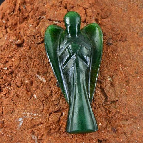 gemsmore:Genuine Green Jade Carved Healing Angel