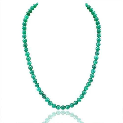 gemsmore:Genuine Green Jade Round Beads Necklace