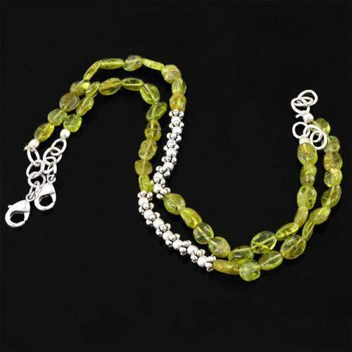 gemsmore:Genuine Green Peridot Beads Anklet