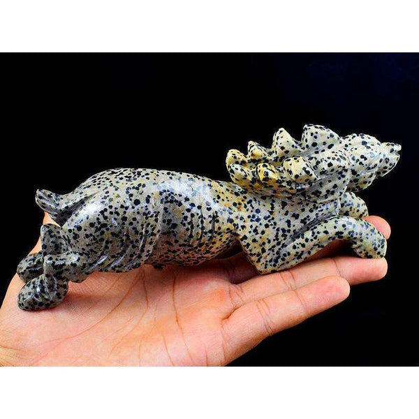 gemsmore:Genuine Hand Carved Dalmation Jasper Reindeer