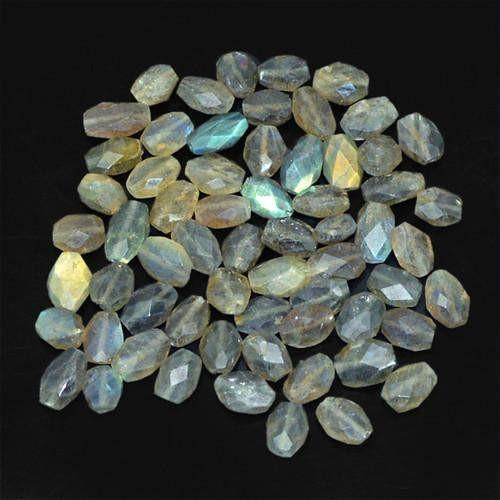 gemsmore:Genuine Labradorite Faceted Drilled Beads Lot