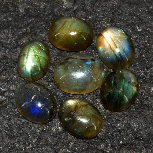 gemsmore:Genuine Labradorite Oval Shaped Gemstone Lot