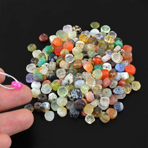 gemsmore:Genuine Multicolor Untreated Drilled Beads Lot