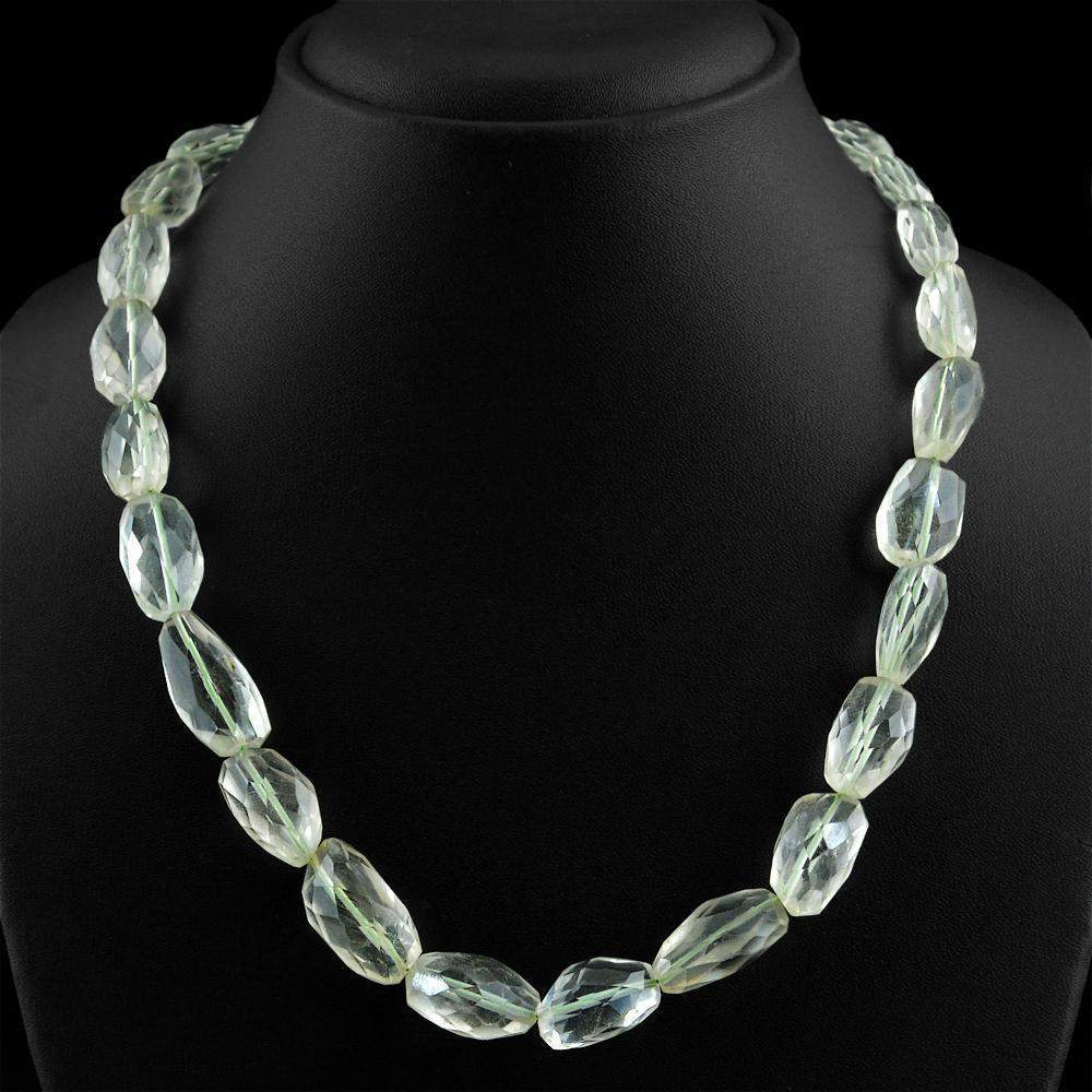 gemsmore:Genuine Natural Green Amethyst Necklace Untreated Faceted Beads