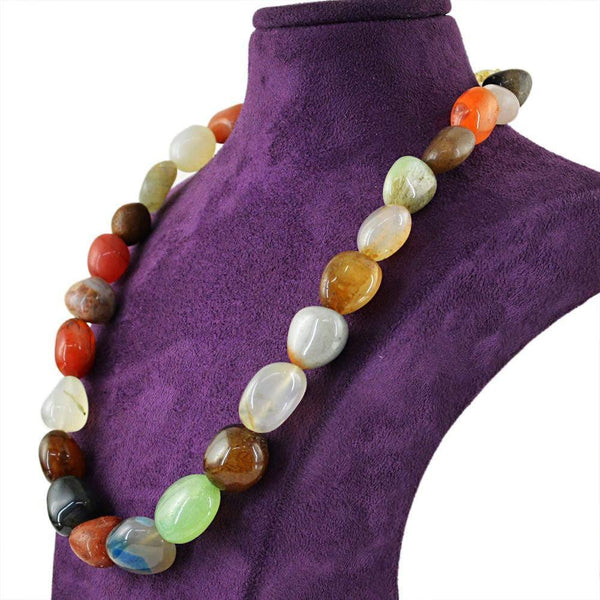 gemsmore:Genuine Natural Multicolor Multi Gemstone Necklace Untreated Beads