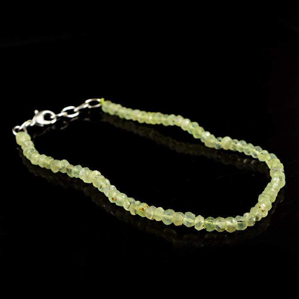 gemsmore:Genuine Natural Phrenite Bracelet Round Faceted Beads