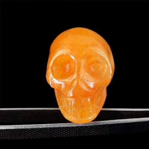 gemsmore:Genuine Orange Aventurine Carved Skull Gemstone