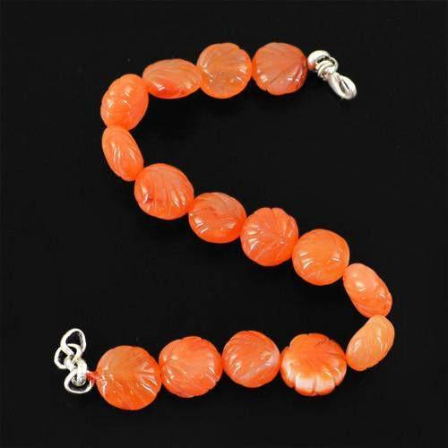 gemsmore:Genuine Orange Carnelian Carved Beads Bracelet