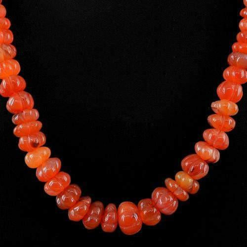gemsmore:Genuine Orange Carnelian Carved Beads Necklace Strand