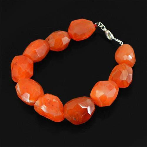gemsmore:Genuine Orange Carnelian Faceted Beads Bracelet