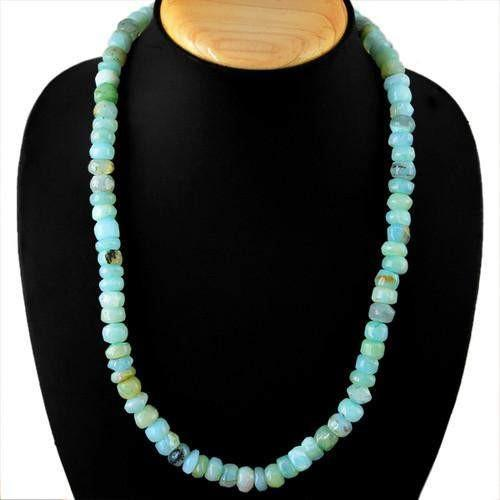 gemsmore:Genuine Peruvian Opal Untreated Beads Necklace