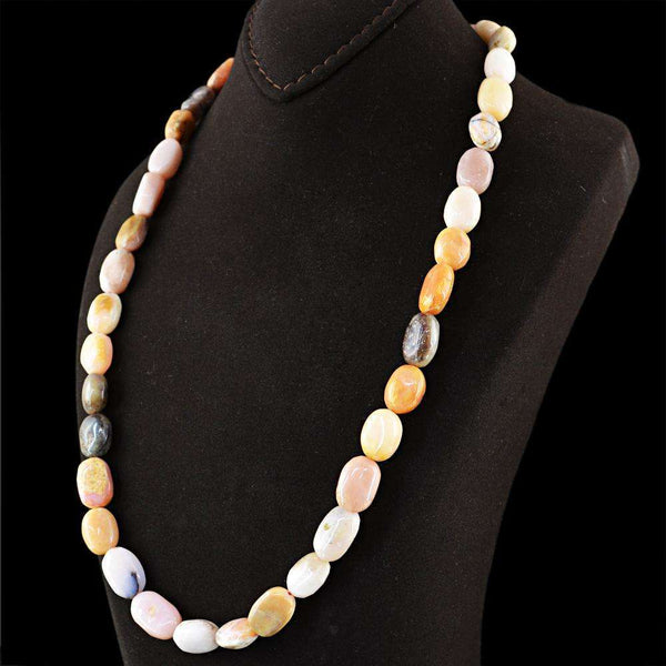 gemsmore:Genuine Pink Australian Opal Necklace - Natural 20 Inches Long Oval Shape Beads