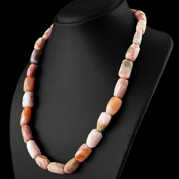 gemsmore:Genuine Pink Australian Opal Necklace Faceted Untreated Beads