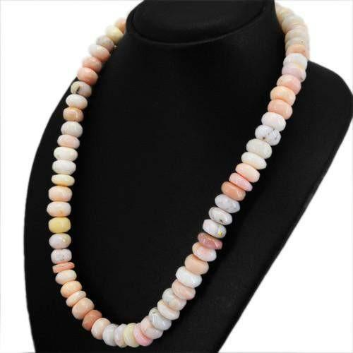 gemsmore:Genuine Pink Australian Opal Untreated Beads Necklace