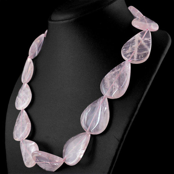 gemsmore:Genuine Pink Rose Quartz Necklace - Natural Single Strand Pear Shape Beads