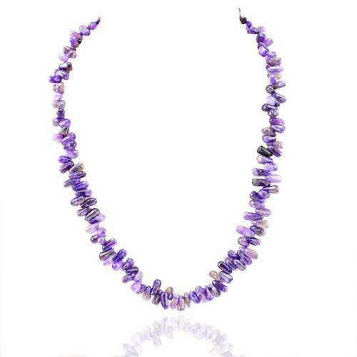 gemsmore:Genuine Purple Amethyst Beads Necklace