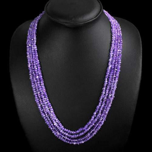 gemsmore:Genuine Purple Amethyst Natural Shining Beads Necklace