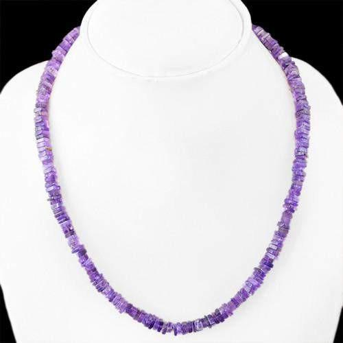 gemsmore:Genuine Purple Amethyst Untreated Beads Necklace