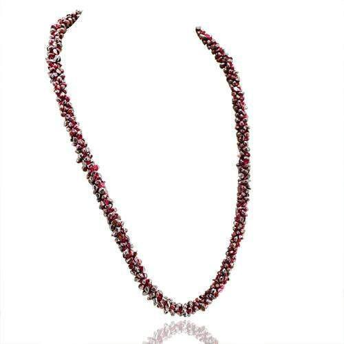 gemsmore:Genuine Red Garnet Beads Necklace