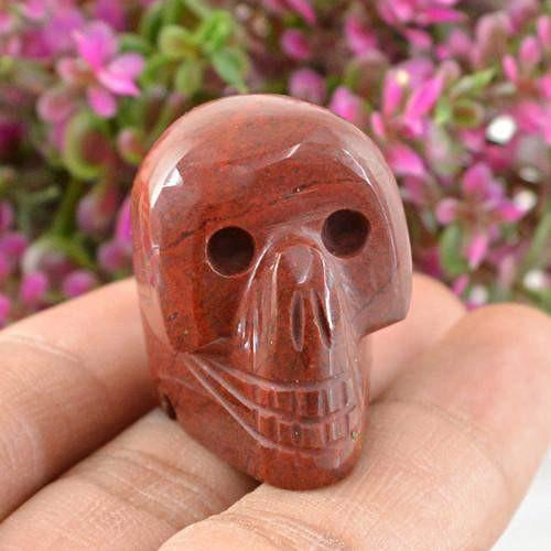 gemsmore:Genuine Red Jasper Carved Skull Gemstone