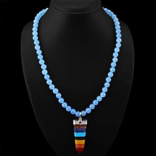 gemsmore:Genuine Seven Chakra Blue Chalcedony Beads Necklace