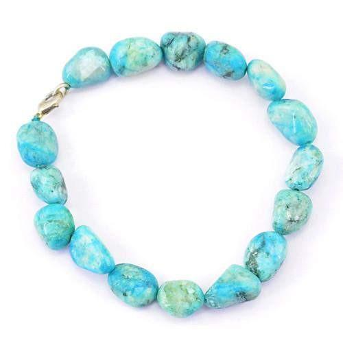 gemsmore:Genuine Turquoise Untreated Beads Bracelet