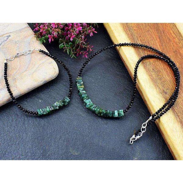 gemsmore:Genuine Untreated Emerald & Spinel Necklace & Bracelet Set