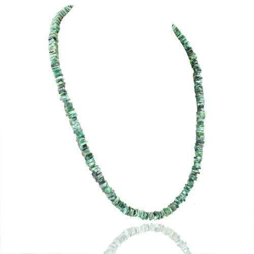 gemsmore:Genuine Untreated Green Emerald Beads Necklace