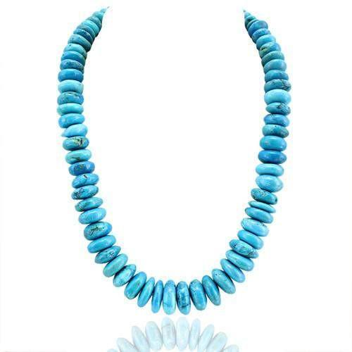 gemsmore:Genuine Untreated Turquoise Round Beads Necklace