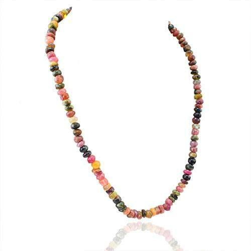 gemsmore:Genuine Watermelon Tourmaline Untreated Beads Necklace