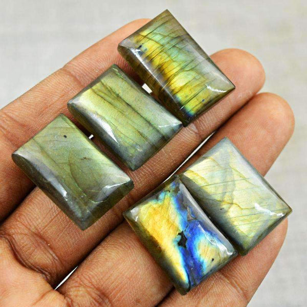 gemsmore:Golden & Blue Flash Labradorite Gemstone Lot Natural Rectangular Shape