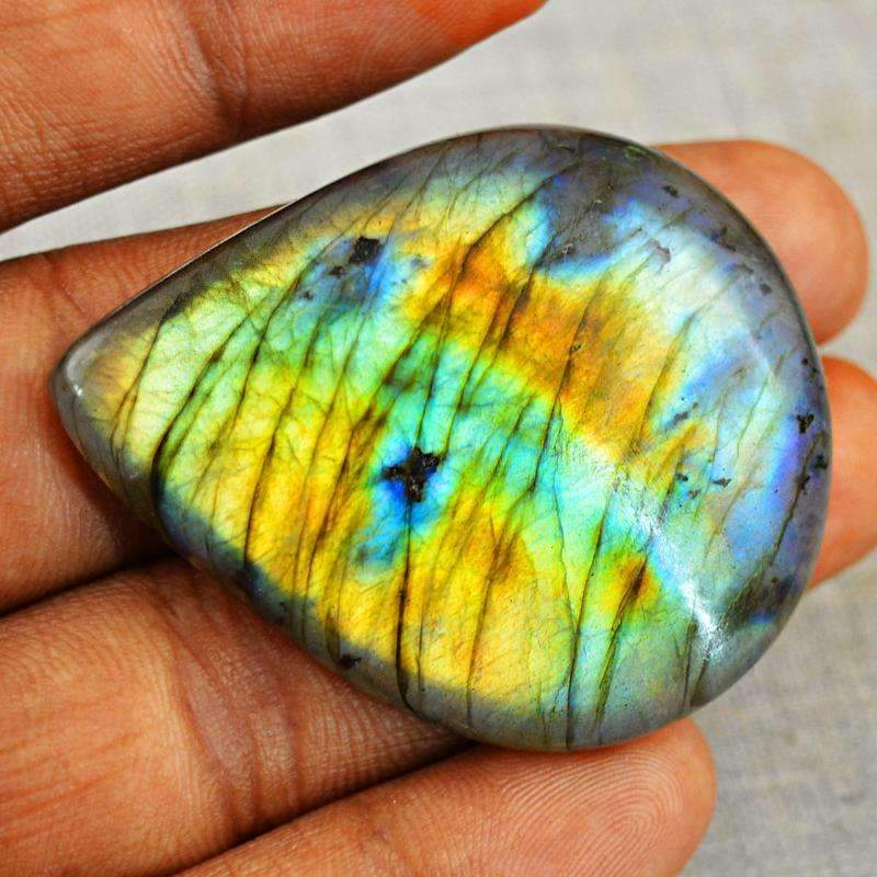 gemsmore:Golden & Blue Flash Labradorite Gemstone Natural Pear Shape
