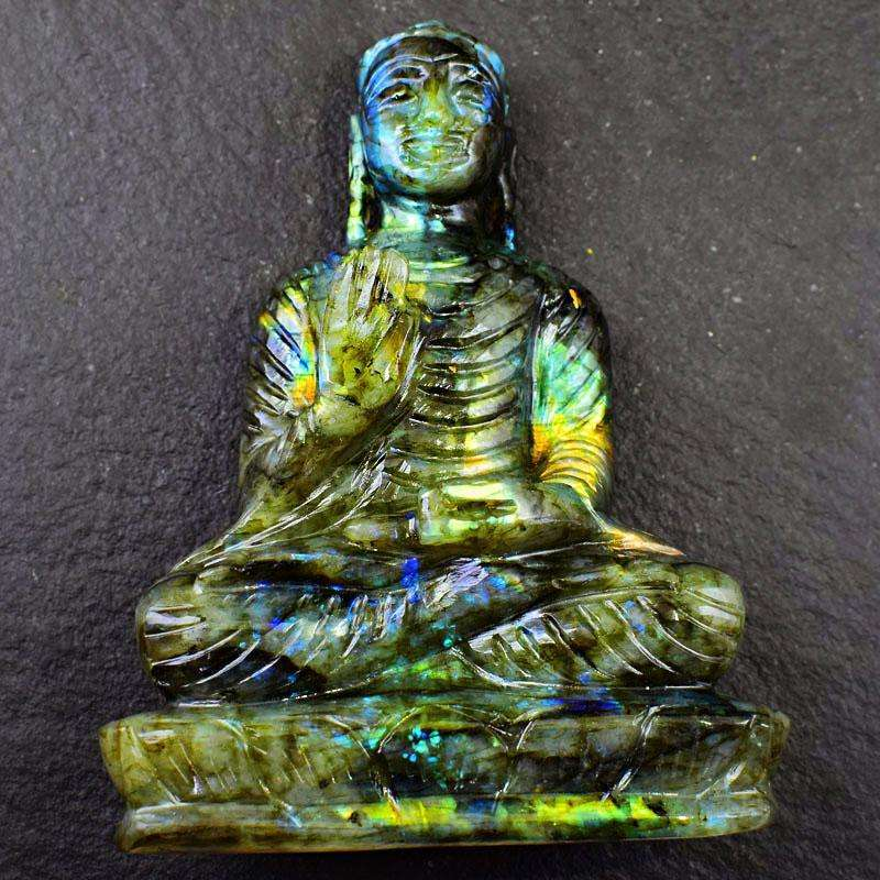 gemsmore:Golden Flash Labradorite Hand Carved Lord Buddha Idol