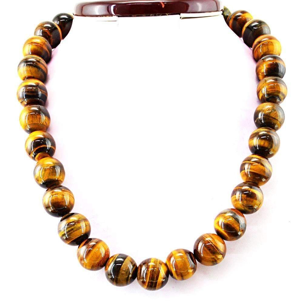 gemsmore:Golden Tiger Eye Natural 20 Inches Long Untreated Round Beads