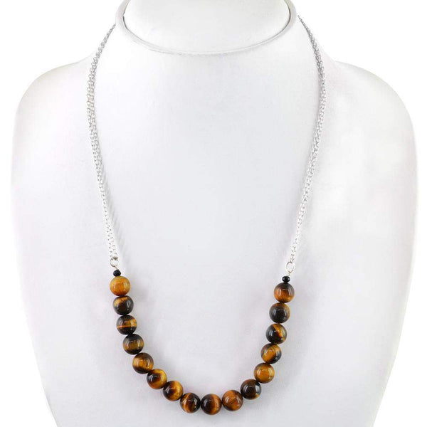 gemsmore:Golden Tiger Eye Necklace Natural Single Strand Round Shape Beads