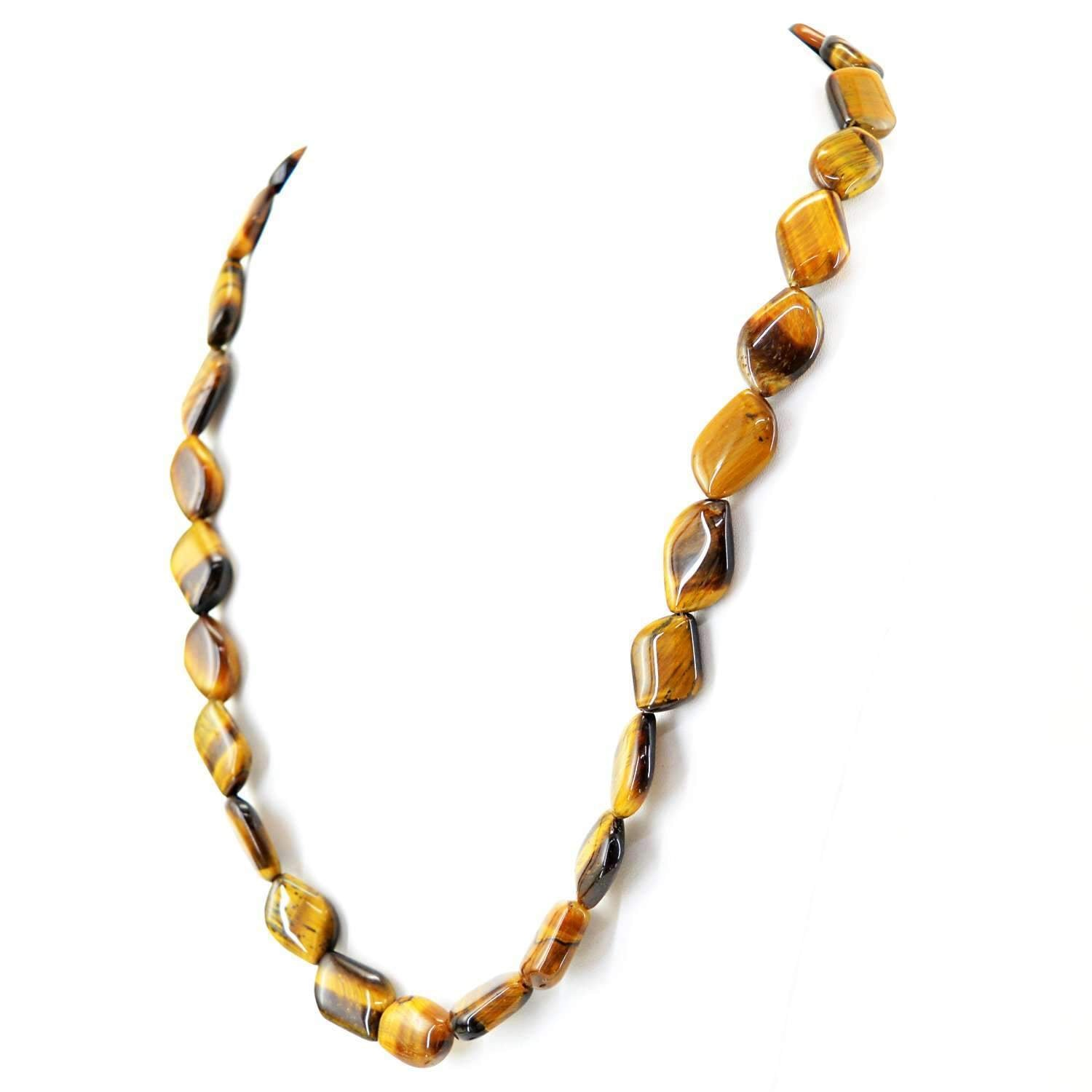 gemsmore:Golden Tiger Eye Necklace Natural Single Strand Untreated Beads