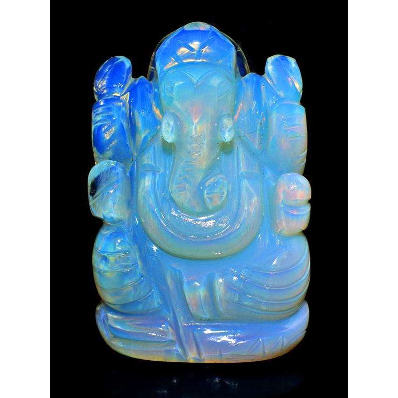 gemsmore:Gorgeous Opalite Color Play Hand Carved Ganesha Idol