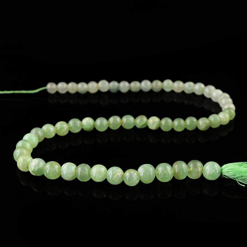 gemsmore:Green Aquamarine Beads Strand - Natural Round Shape Drilled