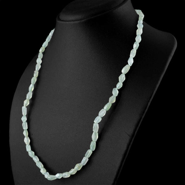 gemsmore:Green Aquamarine Necklace Natural Untreated Faceted Beads