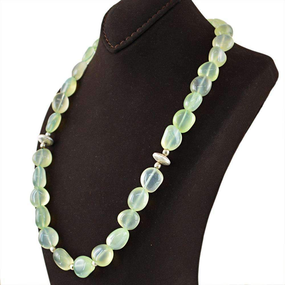 gemsmore:Green Chalcedony Necklace Natural Untreated Beads