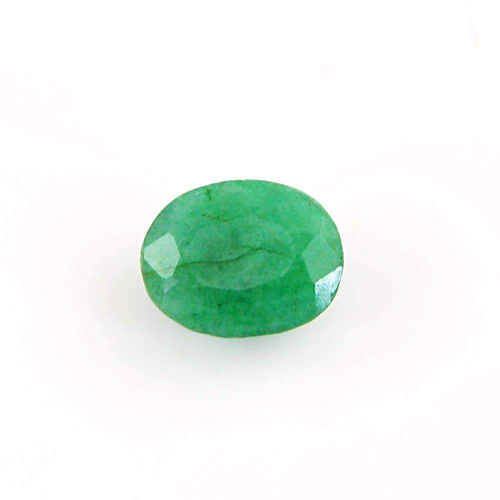 gemsmore:Green Emerald Gemstone Earth Mined Faceted Oval Shape