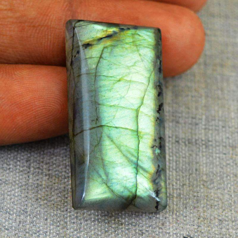 gemsmore:Green Flash Labradorite Gemstone Natural Rectangular Shape