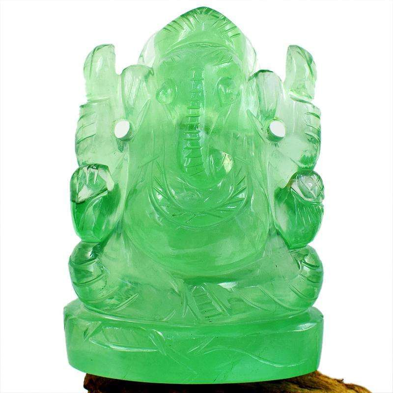 gemsmore:Green Fluorite Hand Carved Lord Ganesha Idol