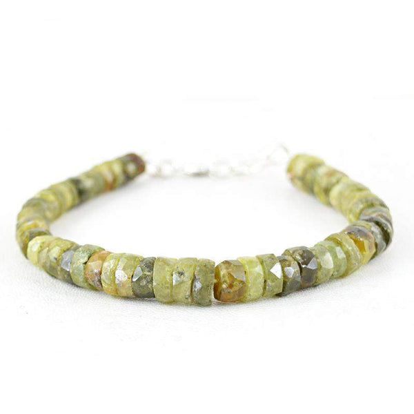 gemsmore:Green Garnet Bracelet Natural Faceted Round Shape Beads