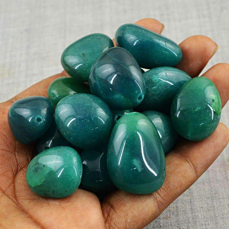 gemsmore:Green Onyx Beads Lot - Natural Untreated Drilled
